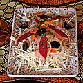 Salade de chou coco au magret séché, tomates arbuste et raisins
