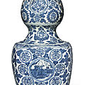 A large blue and white 'shoulao' double gourd vase, ming dynasty, jiajing period (1522-1566)