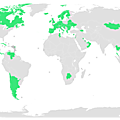A map of all the countries that have a universal healthcare system