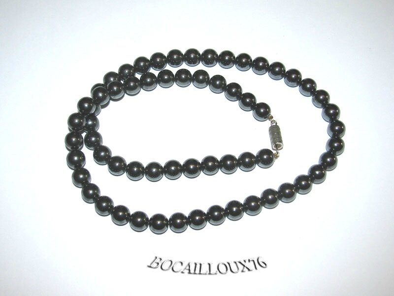 Collier HEMATITE 4 Perles 8,5mm (3)