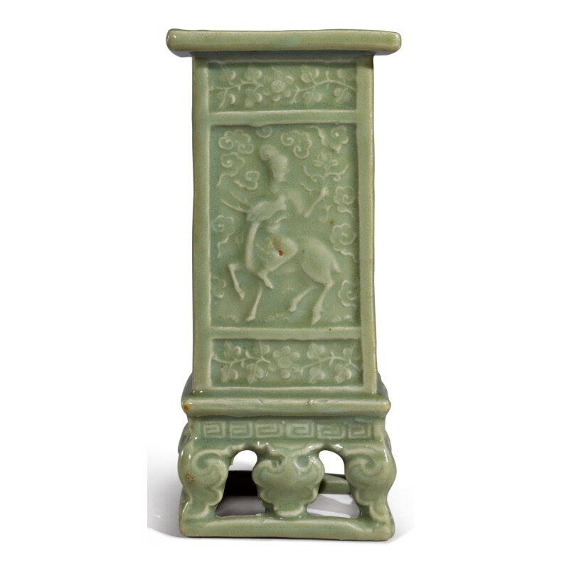 An unusual molded 'Longquan' celadon-glazed square-section 'immortals' vase, Late Ming dynasty