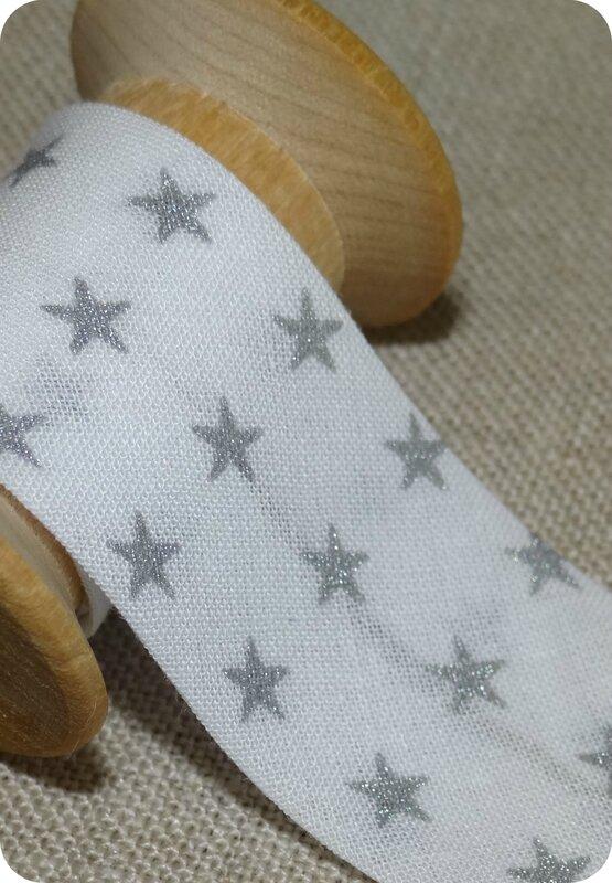 Tissu France Duval blanc étoiles argent