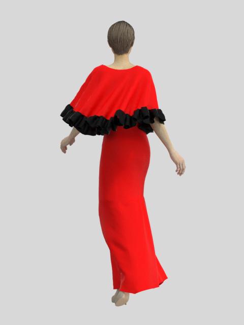Robe de soirée longue rouge et noire derrière
