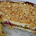 Tarte rhubarbe - crème anglaise - crumble