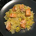 Dés de saumon sur chou chinois au philadelphia