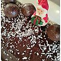 Dessert de fêtes : bûche glacée au chocolat noix de coco et kitkatball
