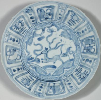 A group of four blue and white 'Kraak Porselein' dishes, Chongzhen period, circa 1643 1
