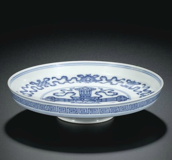 A blue and white 'Bajixiang' tazza, mark and period of Yongzheng (1723-1735)