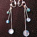 B.o. clips, pendantes perles bleues
