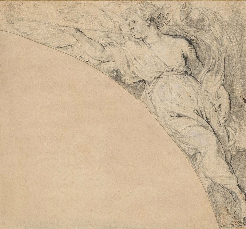 Angel Blowing a Trumpet, Facing Left