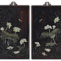 A pair of embellishedzitanwall panels, late qing dynasty