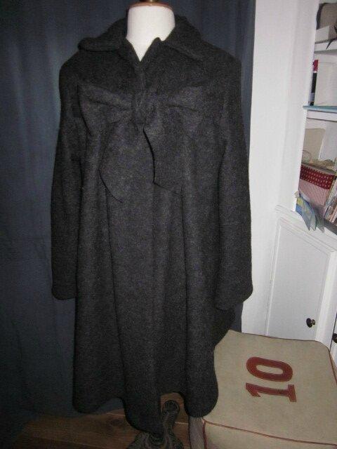 Manteau AGLAE en laine bouillie gris anthracite chiné fermé par un noeud - taille 50 (5)