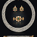 A suite of antique pearl, diamond and emerald jewelry, 19th century
