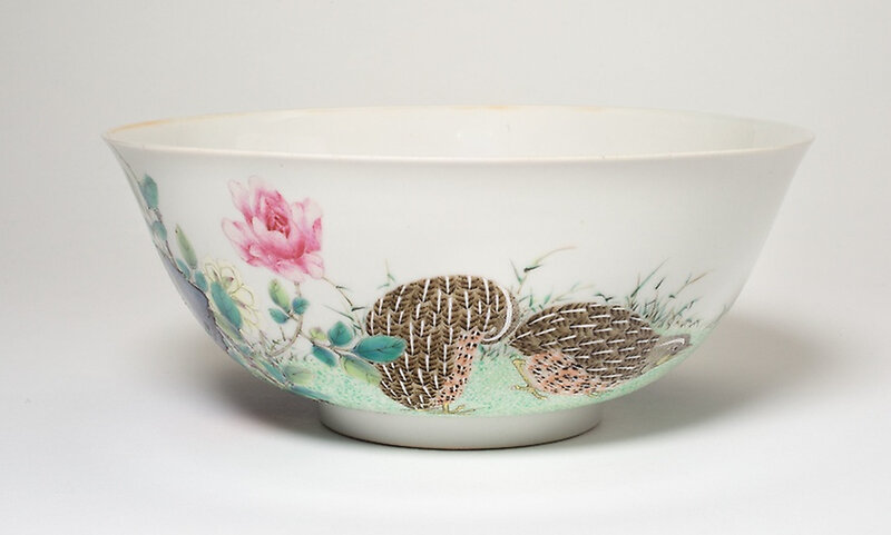 A Hongzhi mark and period Famille-Rose 'Quails' Bowl, later enamelled during the Yongzheng period