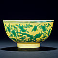 A yellow-ground green-enamelled 'bird and flower' bowl, jiaqing period, 1796-1820