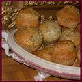 Muffins au citron, pavot et aux deux gingembres (en poudre et confit)