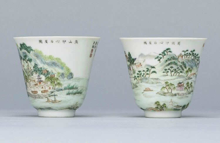 A pair of famille rose 'Landscape' cups, Daoguang six-character seal mark in iron red and of the period (1821-1850)