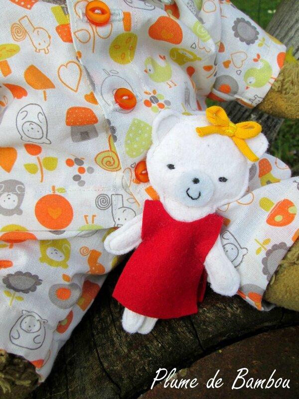 pyjama de poupée, pyjama d'ours