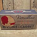 Ancienne boite carton publicitaire nouilles pâtes alimentaires rivoire & carret