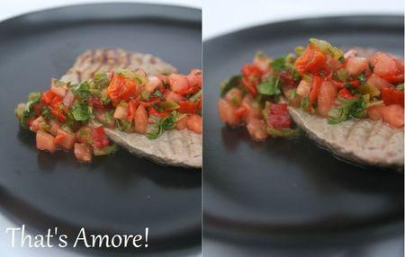 Bifteck grillé, sauce piquante