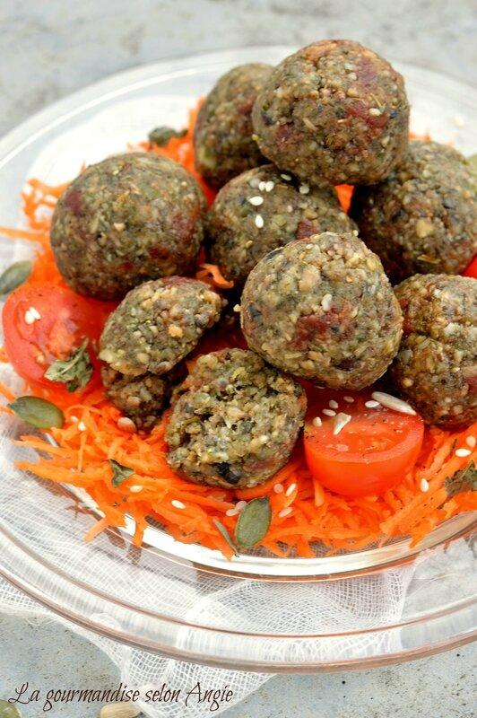 raw falafels (falafels crus) façon Provençale (tomates-olives) vegan 2
