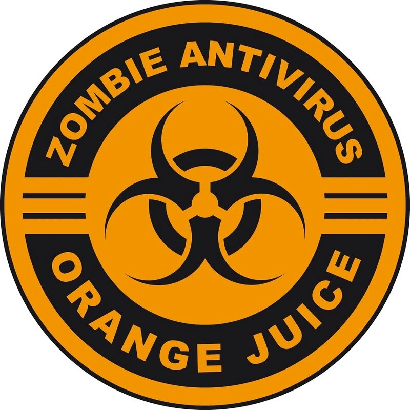zombie label orange juice halloween
