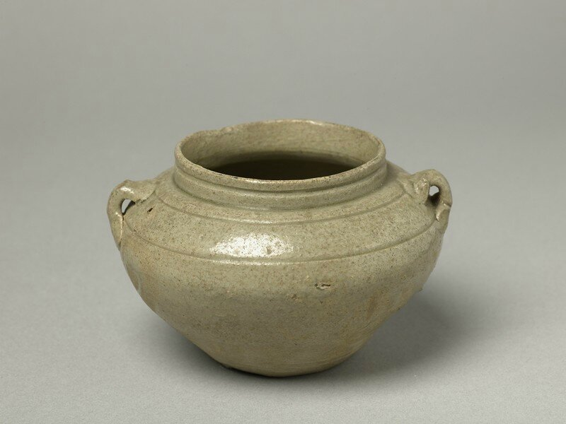 Greenware guan, or jar, with loop handles, Yue kiln-sites, late 8th century - early 9th century, Tang Dynasty (AD 618 - 907)