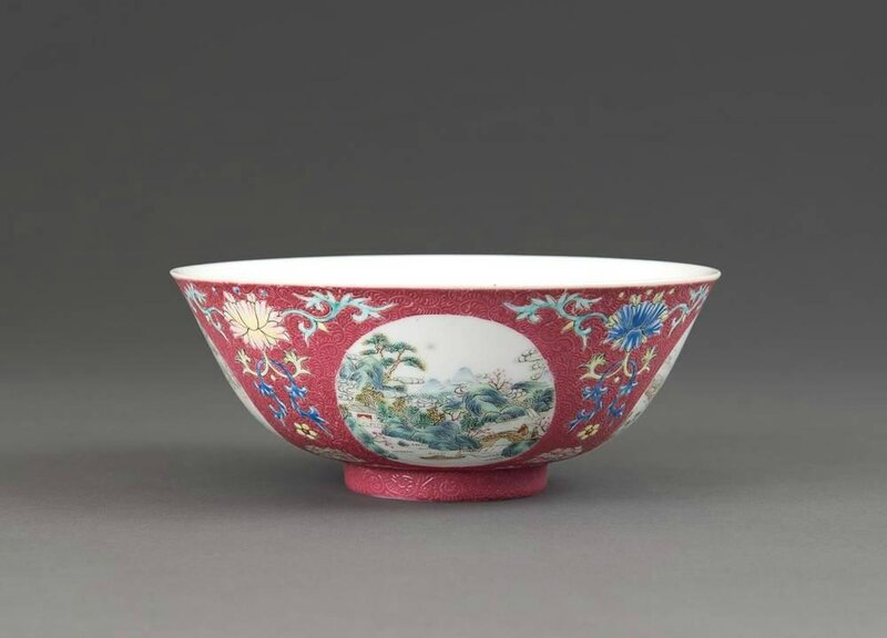 A Chinese imperial medallion bowl, Daoguang mark and period (1821-1850)