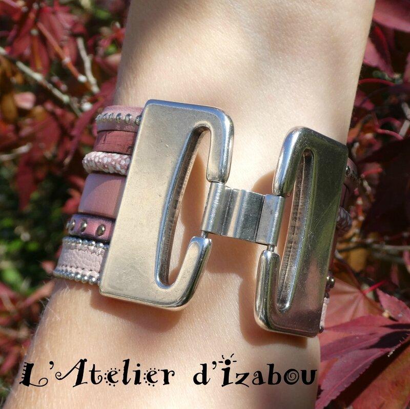 P1000860 Bracelet manchette femme multirangs cuirs roses