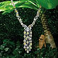 Important fancy coloured diamond and diamond necklace, william goldberg