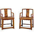 Pair of huanghuali low-back armchairs. kangxi period, qing dynasty