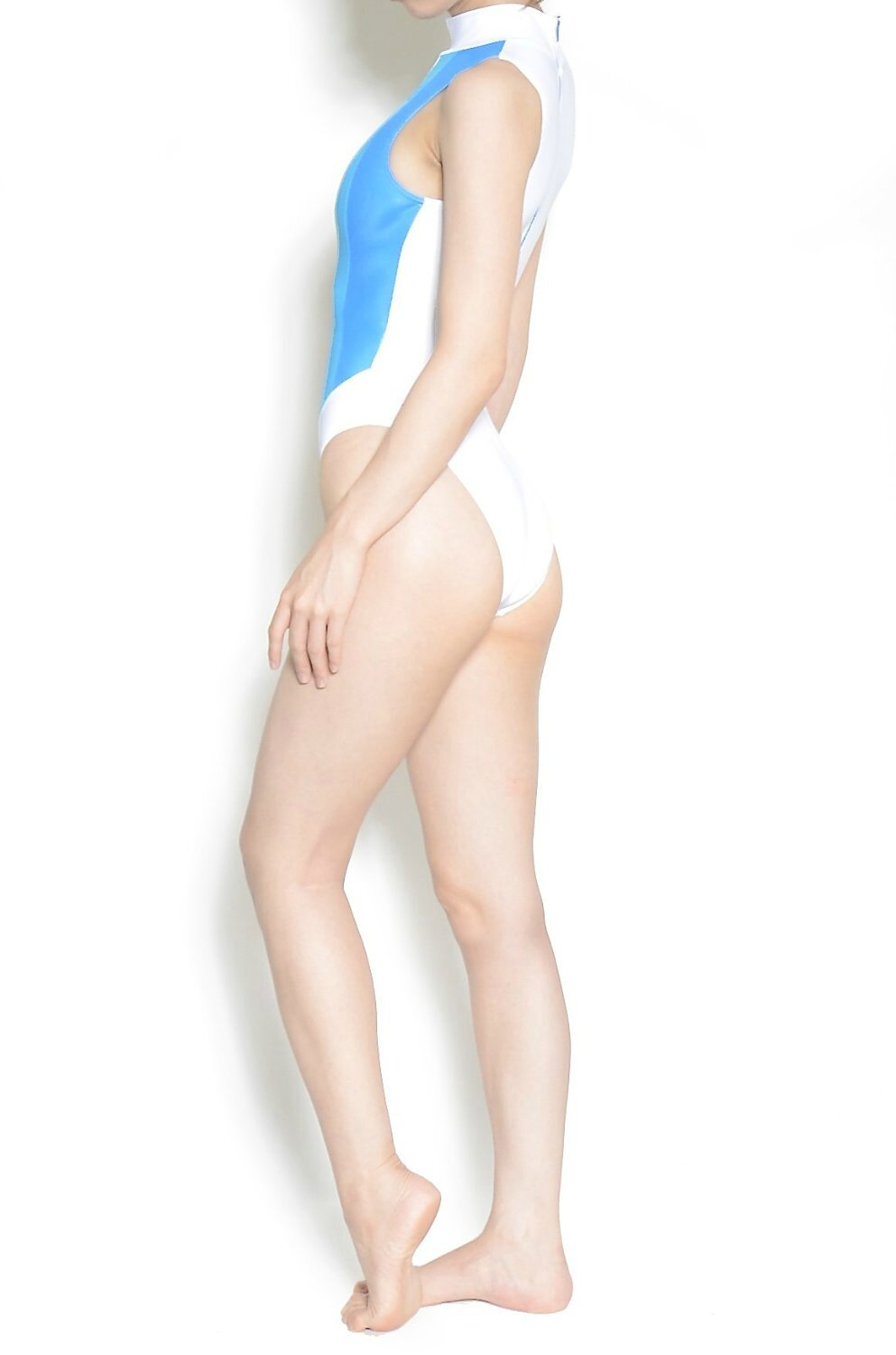 Maillot N-037 Shiny white & Blue UltraThin by Realise profil