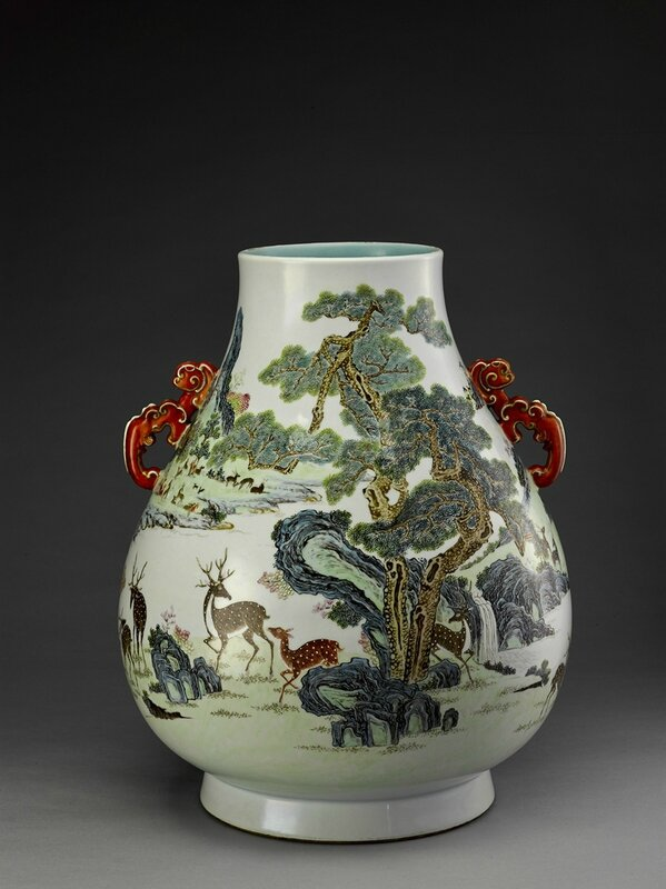 "A magnificent famille-rose ""hundred deer"" vase, Qianlong mark and period (1736-1795)"