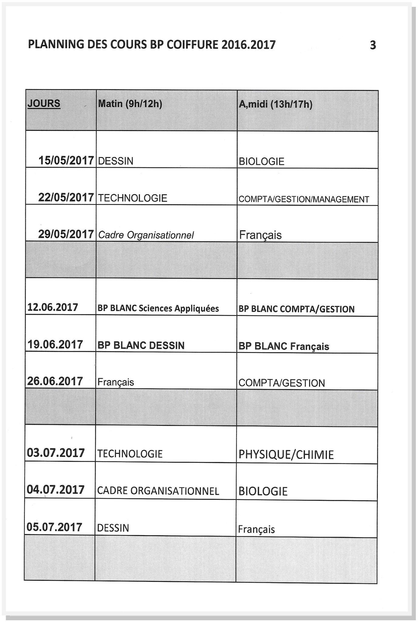 Planning Bp Mai Juillet 2017 Lycee De Coiffure Et D Esthetique Alain Berge Cree En 1989