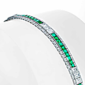 An art deco emerald and diamond bracelet, circa 1925