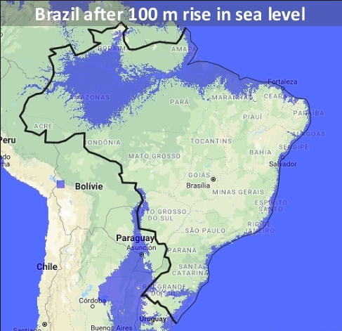 Brazil's coast and borders if sea levels rose 100 meters