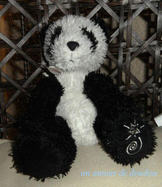 Doudou Peluche Ours Panda Shining Stars Noir et Blanc Russ Berrie