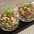 Salade lentilles, pommes et tomate