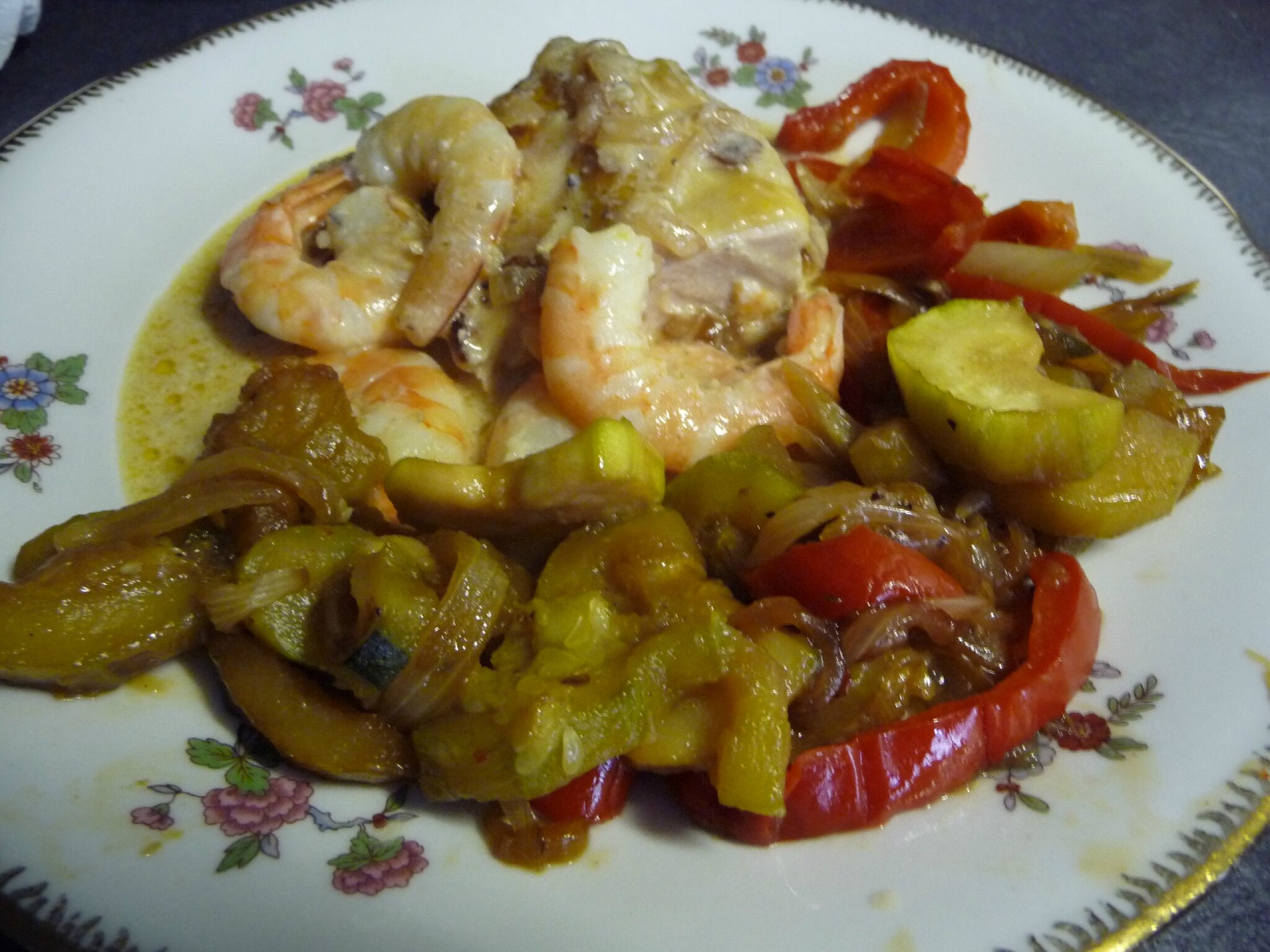 POULET AUX GAMBAS SAUCE CREMEE AU WHISKY