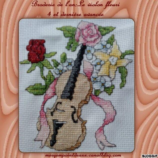 Broderie violon fleuri