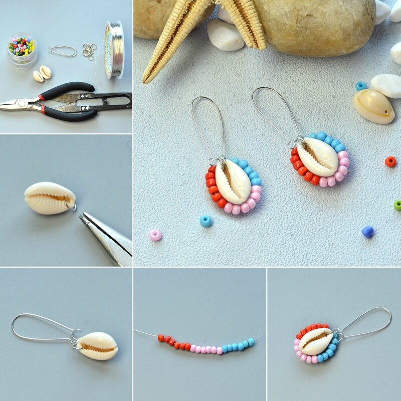 PandaHall Tutorial on Shell Beads Earrings Decorated with Seed Beads1080-5