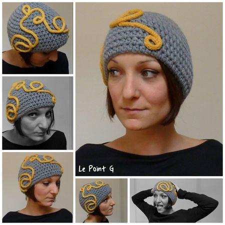 bonnet arabesque jaune crochet accessoire chapeau original unique