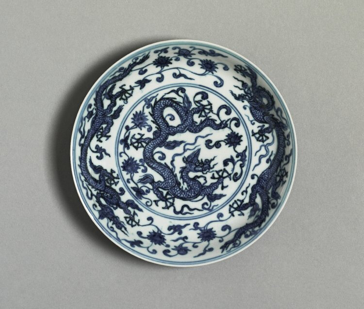 Dish with dragons amid lotus scrolls, Ming dynasty, Chenghua mark and period, AD1465–87