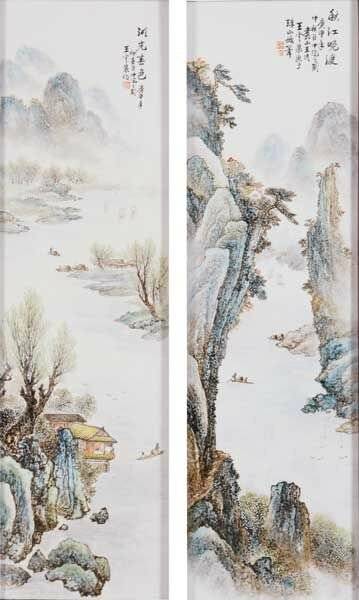 Two Enameled Porcelain Plaques, Signed Wang Yunquan (1916-1998), Late 20th Century