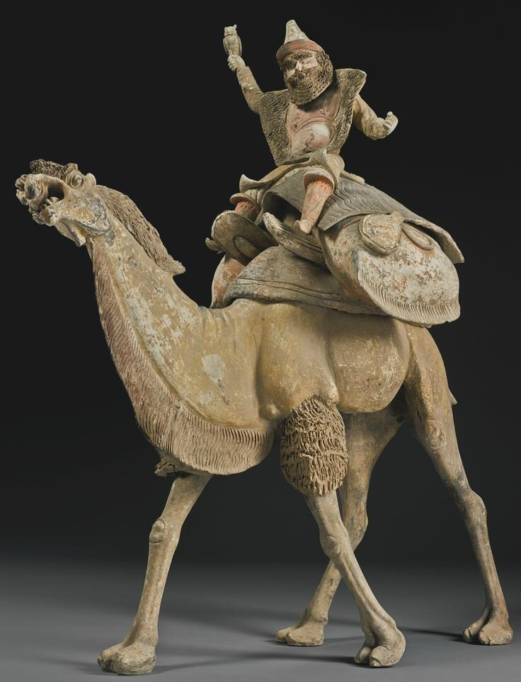 A Magnificent Painted Pottery Camel With Sogdian Rider And Hunting Owl, Early Tang Dynasty