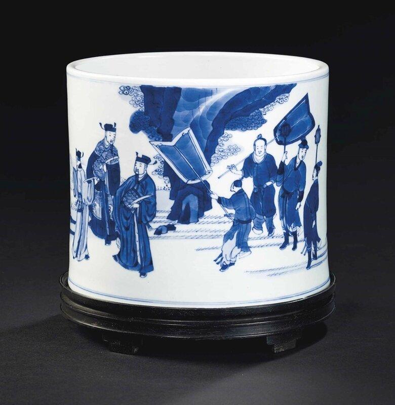 Pot à pinceaux en porcelaine bleu blanc, Chine, dynastie Qing, époque Kangxi (1662-1722)