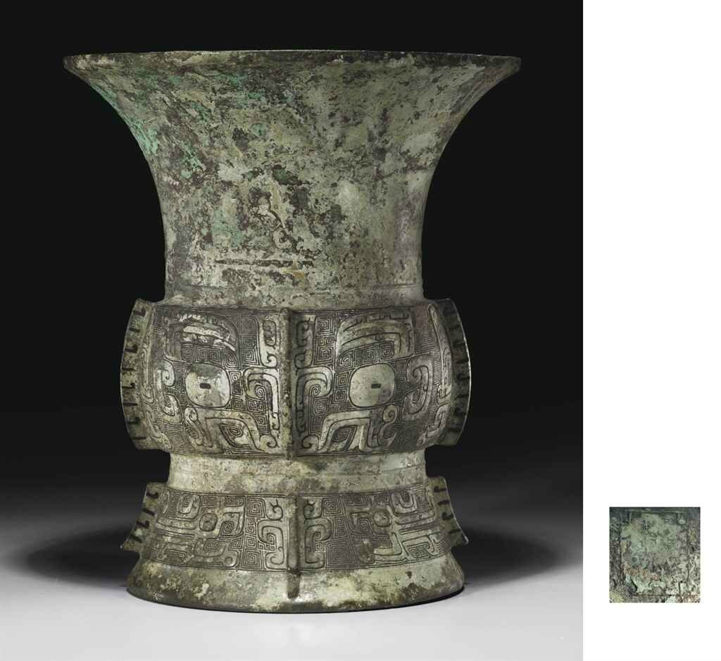A rare well-cast bronze ritual wine vessel, zun, late Shang dynasty, 11th century BC