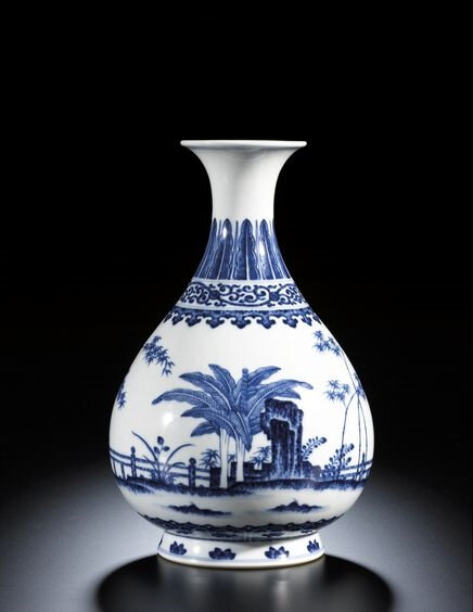 A fine Blue and White 'Garden' yuhuchun vase, Seal Mark and Period of Qianlong (1736-1795)