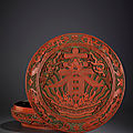 A magnificent carved polychrome lacquer 'spring' circular box and cover, qianlong mark and period (1736-1795)