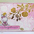 Gold and flowers pink card, #mamaElephant